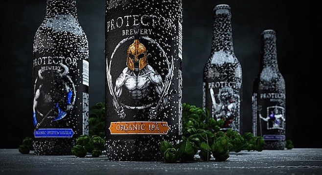Bottle designs shared by Protector Brewery, an organic brewery planned for later this year.