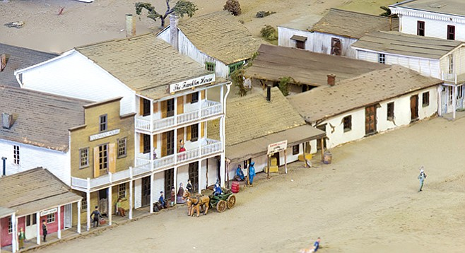 Model of Casa de Machado y Silvas in 1872 on right researched and built by Joseph C. Toigo