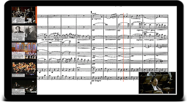 Peachnote syncs the score with YouTube videos and an orange line moves across the score as the music progresses.