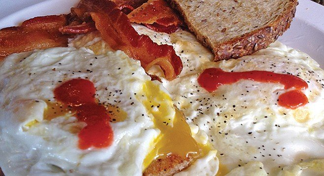 My bacon and eggs, with Yucateco sauce