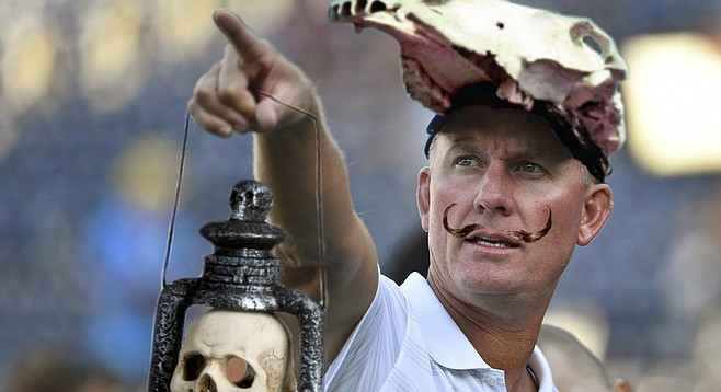 """In a clear homage to 20th-century surrealist Salvador Dali, Coach McCoy sported an upturned mustache and a hat fashioned from the skull of a horse for September 11th's season opener against the Kansas City Chiefs. The kitschy skull lamp may have been a reference to Shakespeare's play Macbeth, which contains the lines, """"All our yesterdays have lighted fools the way to dusty death…[Life] is a tale told by an idiot, full of sound and fury, signifying nothing.""""  McCoy, however, refused to comment on this, and also on the question of whether or not he thought professional football could be substituted for """"life"""" in this case. """"I'm not about to force my own interpretation of my work on the viewing public,"""" he explained. """"All I can do is invite people to consider what it means to them. What all of this means, or doesn't mean, or whether the very search for meaning is as absurd as my coaching strategy."""""""