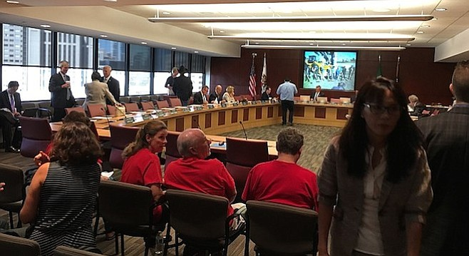 Before the September 9 Sandag meeting began. Raise the Balloon members are in red shirts.