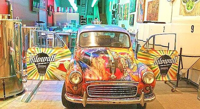 Kilowatt Brewing's hand painted psychedelic 1961 Morris Minor car won't be out of place parked in OB.