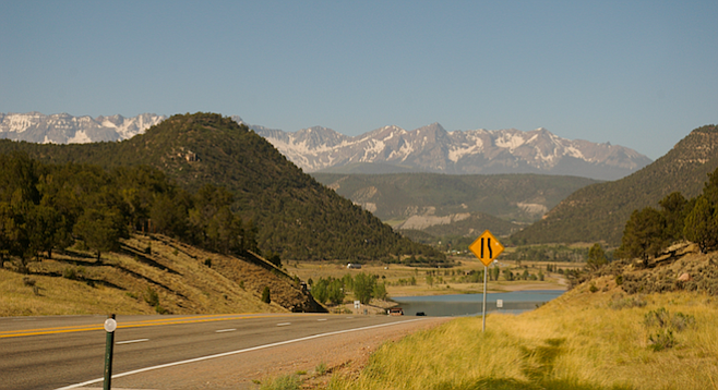 En route to Ridgeway State Park ​with ​the majestic San Juan Mountain range in the background.​