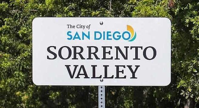The city's new neighborhood signs extend Sorrento Valley east to Camino de Santa Fe.