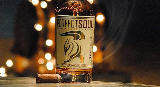 100 proof whiskey distilled in San Marcos