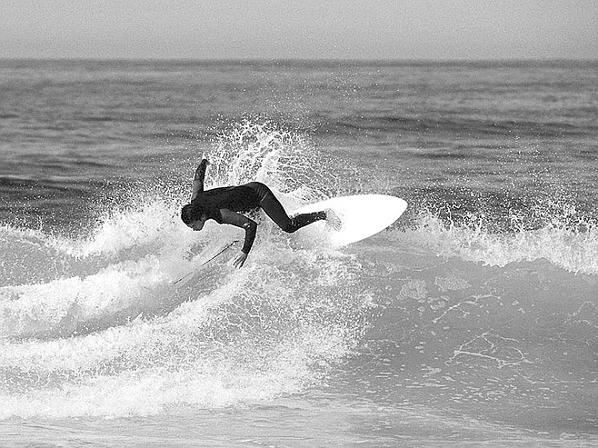 Kaichi will surf anywhere in San Diego, any time. It's what he came here for.