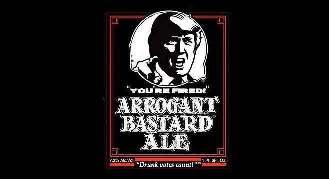 "Engels: ""Arrogant Bastard is the beer that put stone on the map. And Trump is the politician who might wipe America off the map. Putting him on the label for November was a no-brainer, which also seemed fitting. Plus, since we just laid off five percent of our workforce, Trump's Apprentice catchphrase made a certain amount of sense."""