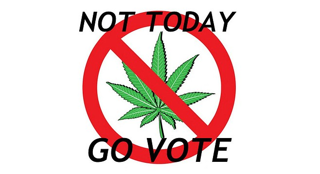 Sign that Bongwater hopes will appear on medical marijuana dispensary doors this election day.