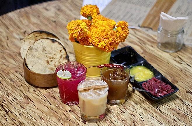 Chapulín Colorado, El Gringo and El Rey mixed drinks.