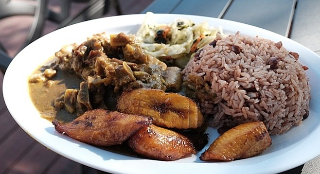 Bony goat and boring sides. Plantains shouldn't be your favorite part of this plate.