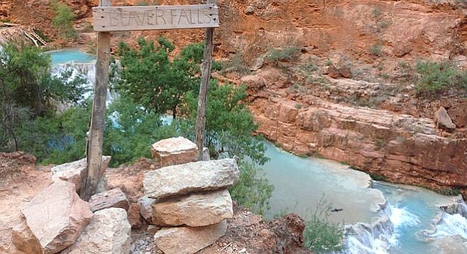 Overlooking the stepped Beaver Falls, Havasu Canyon, Arizona.