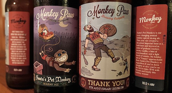 Monkey David takes out Big Beer Goliath, and a monkey pulls Santa's sleigh for Monkey Paw's first bottle releases.