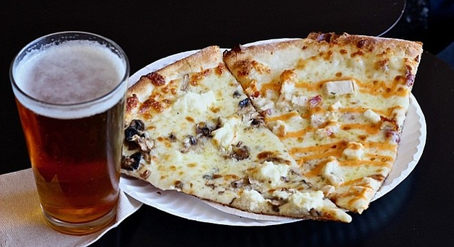 Donatello with mushrooms and the White Girl with a Delicious IPA by Stone