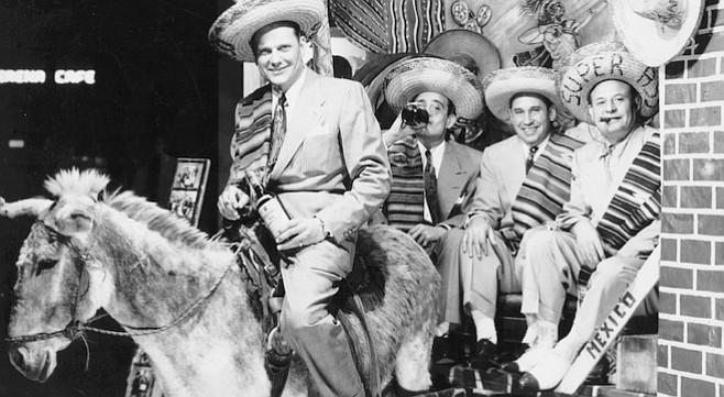 Frank Bompensiero (right) with Kansas City friends, Tijuana, 1950