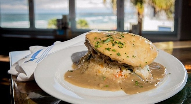 The rice-egg-burger combo with lots of gravy is popular in Hawaii (and OB)