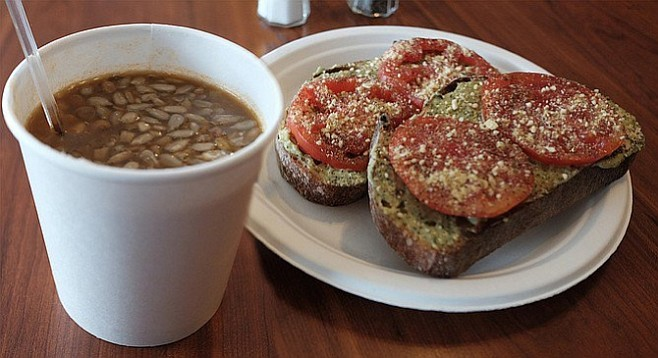 Lentil soup and tomato-pesto toast — so organic, so vegan