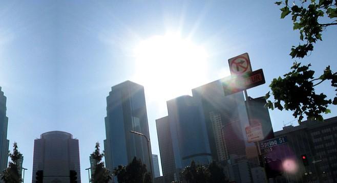City skyline along downtown's Spring Street.
