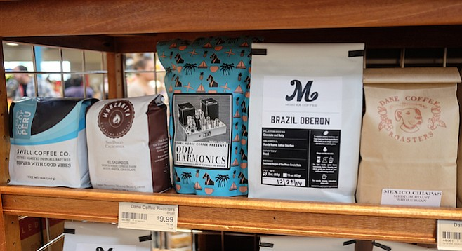 The Local Coffee Corner at Barons Market North Park features beans from five local coffee roasters.