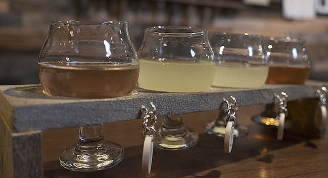 A taster flight offered by Twisted Horn Mead & Cider