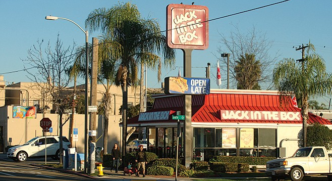 Jack in the Box, at the intersection of 30th and Upas streets, before the rebuild, in 2012.