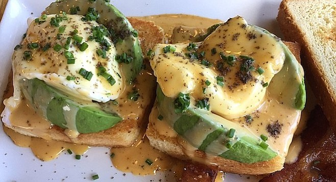 The avocado Benedict has a hollandaise sauce made with burnt caramel. The sauce is also on the sea-salted potatoes.