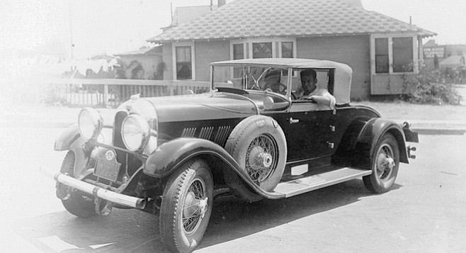 "Bompensiero's elopement car, a LaSalle.  ""Jo, I know I promised you, you would be our matron of honor at our wedding, but Frank and I eloped. What a wedding night, whoo, whoo!"""