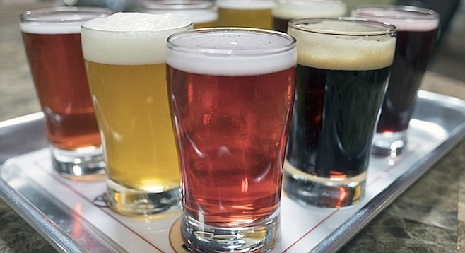 A taster flight at Indian Joe Brewing shows how varied and colorful it's 30+ beers get.