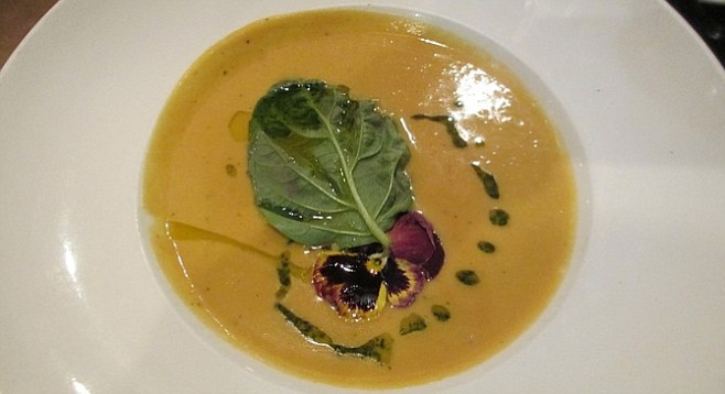 The taste of oregano stood out from the other herbs in the butternut squash soup.