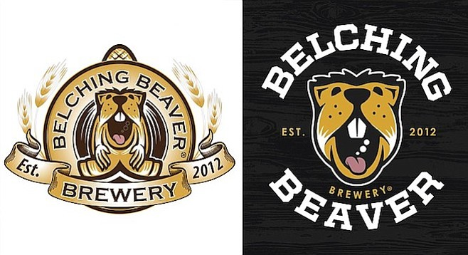 A side-by-side comparison of the old and new Belching Beaver logos