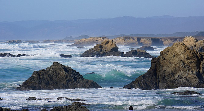 The ocean by Fort Bragg, about 3.5 hours north of San Francisco.
