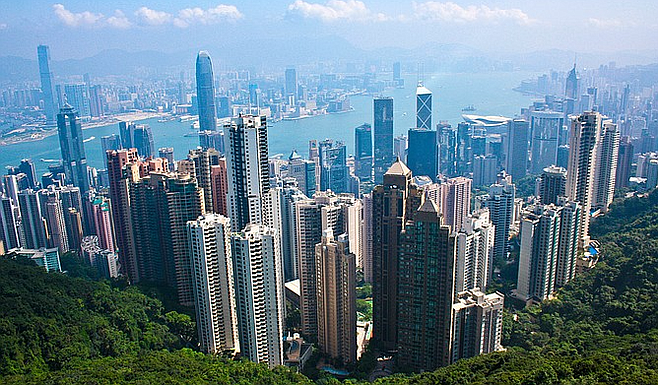 Taking in the panorama from Victoria Peak, accessible via Hong Kong's 120-year-old Peak Tram.