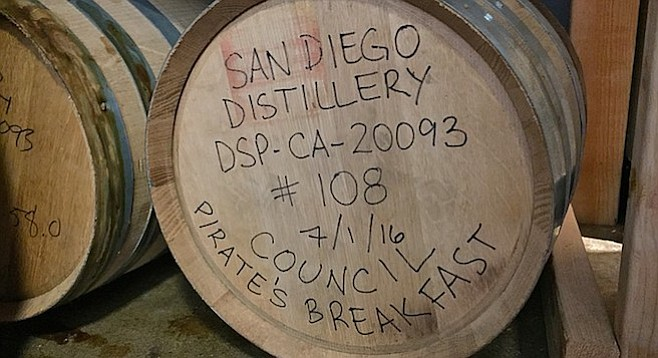 Spirit made from Council Brewing's stout sits on fresh oak at San Diego Distilling