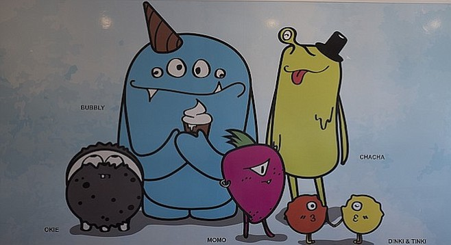 Monsters roam the walls of this ice cream shop.