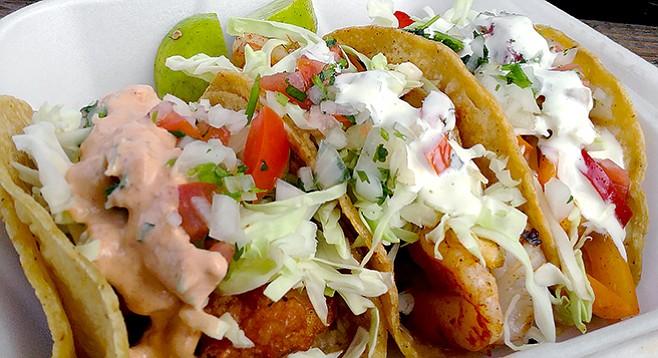 Tacos El Rorro fish, grilled shrimp, and gobernador