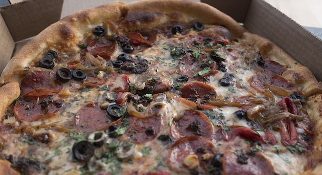 The Classic has a regular pepperoni-and-mozzarella base plus caramelized onions, roasted bell peppers, fresh herbs, and olives.