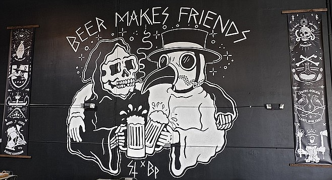 A mural in the Black Plague tasting room by CEO Jarred Doss