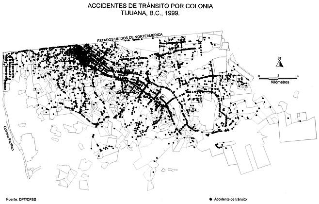 Map of Tijuana traffic accidents, 1999
