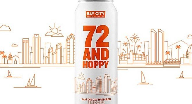 Upcoming can design for San Diego's official destination beer, 72 and Hoppy (by Less + More Branding Agency)
