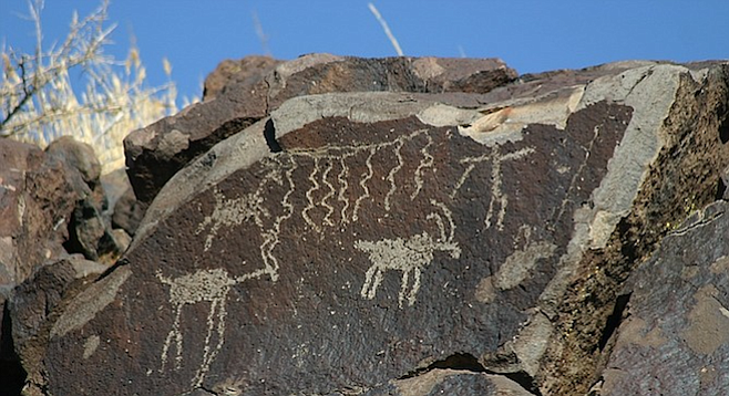 Man hunting bighorn sheep. The China Lake petroglyphs are a four-hour drive north of San Diego.