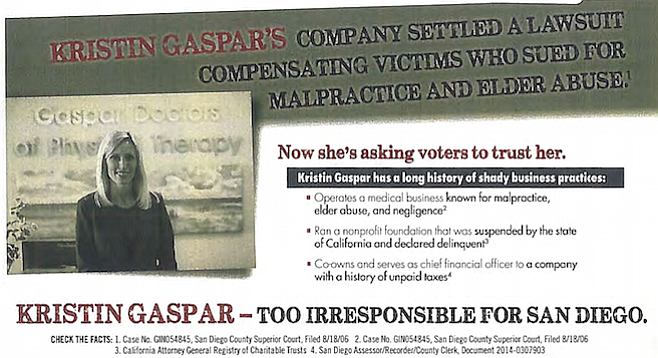 """The mailer accused Gaspar of having a """"long history of shady business practices."""""""