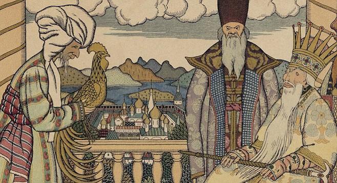 The Golden Cockerel by Ivan Yakovlevich Bilibin, who designed the premier production of Rimsky Korsakov's eponymous opera.