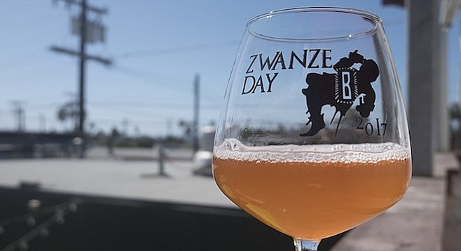The 2017 rendition of Cantillon's Zwanze beer, a lambic blended with oolong tea; served exclusively in San Diego at Bagby Beer Co.