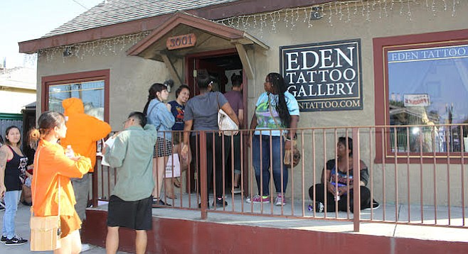 Eden (corner of 30th Street and Madison Avenue) had hundreds of people come by for discount tattoos.