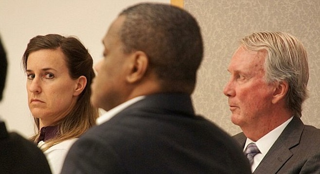 Diana Lovejoy, 44, Weldon McDavid, 50, attorney Brad Patton in court