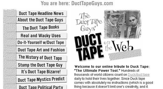 DuctTapeGuys site. Duct tape doesn't work on ducts.