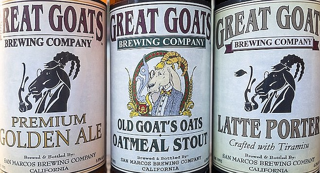 The pipe-smoking goat icon of Great Goats Brewing, dressing up San Marcos Brewery beers
