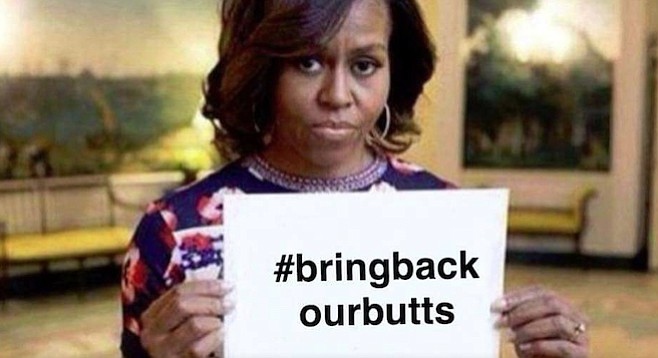 Michelle Obama meme (altered from original #BringBackOurGirls campaign to rescue Nigerian schoolgirls)
