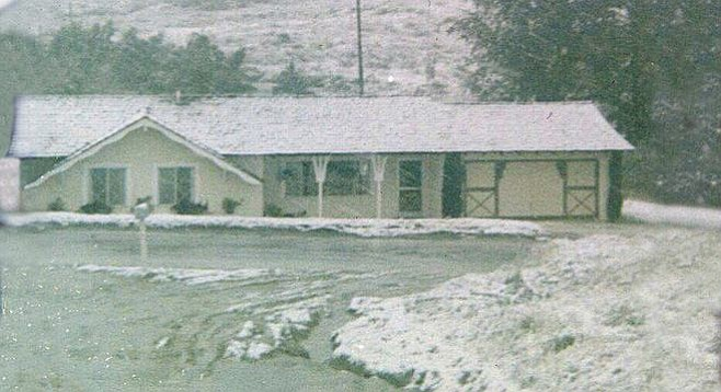 Daphne Mitchell's childhood home on San Marcos Road (now Encinitas Blvd.) got more than a dusting.
