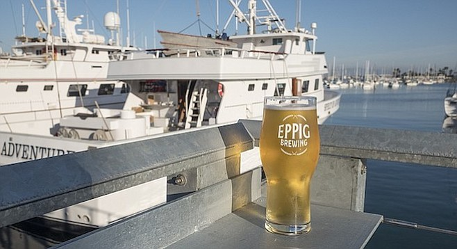 An Eppig pilsner, now available with a view of America's Cup Harbor